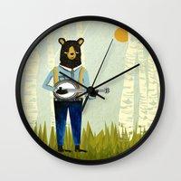 banjo Wall Clocks featuring Bear's Bourree - Bear Playing Banjo by Prelude Posters