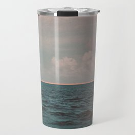 Turquoise Ocean Peach Sunset Travel Mug
