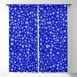 Snowflakes on Dark Blue Blackout Curtain