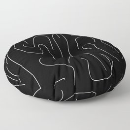 Bright White on Pitch Black Floor Pillow