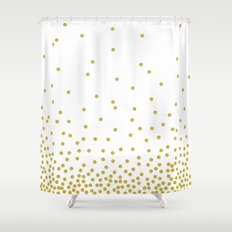 Golden Confetti Shower Curtain
