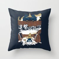 shingeki no kyojin Throw Pillows featuring Attack on Waltz - Shingeki no Waltz by Ruwah
