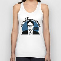 dwight Tank Tops featuring Dwight Schrute logo v2 by Buby87