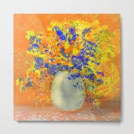 Sparkling Orange and Blue Flower Bouquet Metal Print