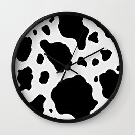 Black and White Cow Animal Pattern Print Wall Clock