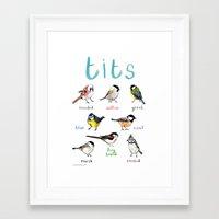 tits Framed Art Prints featuring Tits Illustration by Sarah Edmonds Illustration