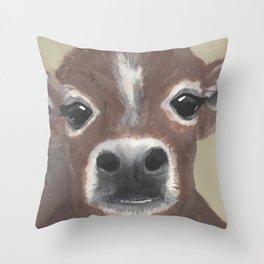 Original Painting - Farmyard Friends - Calf - Cute cow painting Throw Pillow