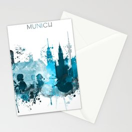 Munich Monochrome Blue Skyline Stationery Cards