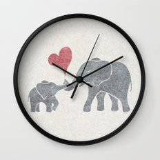 Elephant Hugs Wall Clock