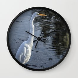Great Egret at Delta Ponds, No. 1 Wall Clock
