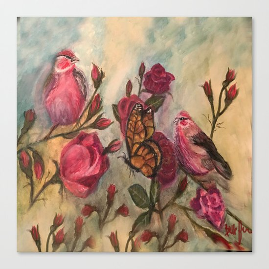 Birds and Roses - watercolor Canvas Print