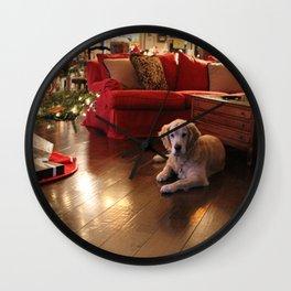 Golden Retriever Ready to Open Gifts Wall Clock