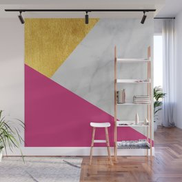 Carrara marble with gold and Pantone Pink Yarrow color Wall Mural