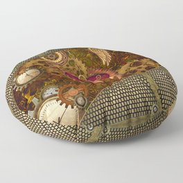 Steampunk, heart with wings Floor Pillow
