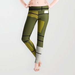 1950's Abstract Art Avocado Green Leggings