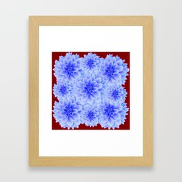 BLUE WHITE DAHLIA FLOWERS IN CHOCOLATE BROWN Framed Art Print