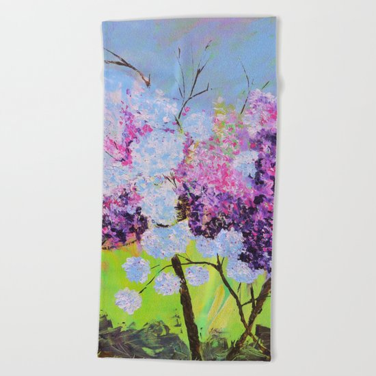 lilac painted Beach Towel