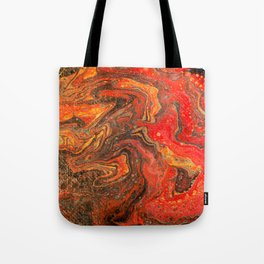 Fluid Art Acrylic Painting Pour 24, Red, Yellow, Orange & Black Blended Color Tote Bag