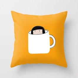 Hiding in a Tea Cup Throw Pillow