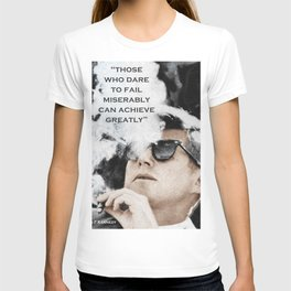 John F Kennedy Cigar and Sunglasses 3 And Quote T-shirt