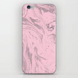 Pink Grey Marble iPhone Skin