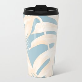 Island Vacay Hibiscus Palm Pale Coral Sky Blue Travel Mug