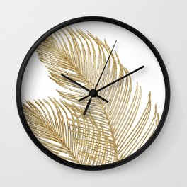 Palm Leaves Finesse Line Art with Gold Foil #2 #minimal #decor #art #society6 Wall Clock