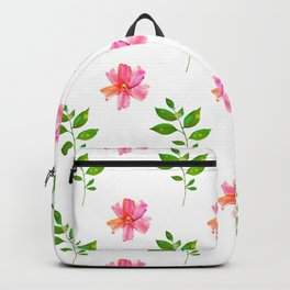 Modern elegant pink orange green watercolor floral pattern Backpack