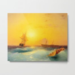Ivan Aivazovsky - American Shipping off the Rock of Gibraltar Metal Print