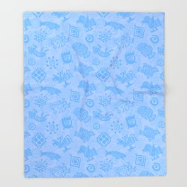 Polynesian Symbols in Mod Blue Throw Blanket