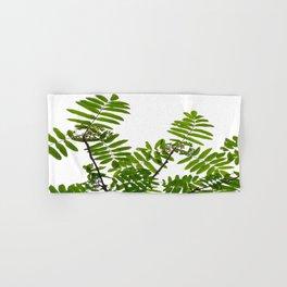 Green Rowan Leaves White Background #decor #society6 #buyart Hand & Bath Towel