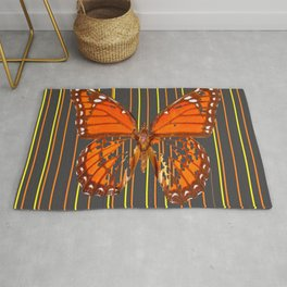 OLD WORN DESICCATED BUTTERFLY PATTERN ART Rug
