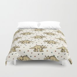 Triceratops & Triangles Duvet Cover