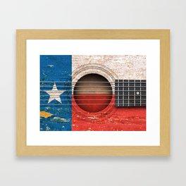 Old Vintage Acoustic Guitar with Texas Flag Framed Art Print