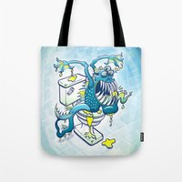 toilet Tote Bags featuring Toilet Monster by Zoo&co on Society6 Products