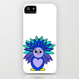 Drawn by hand a Friendly and funny little peacock for children and adults iPhone Case