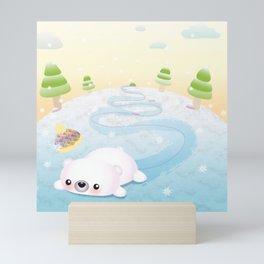 Sliding Polar Bear Mini Art Print