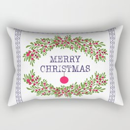 Merry christmas and happy new year white greeting card wreath light white background Rectangular Pillow