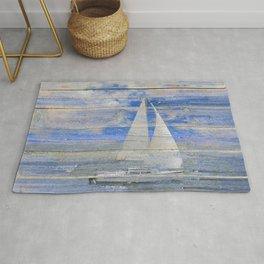 Sailboat Sailing Beach House Lake House Print Coastal Art A462 Rug