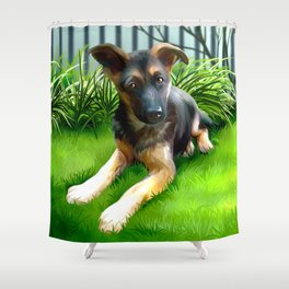 Lua the cutest GS Pup Shower Curtain