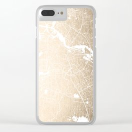 Amsterdam Gold on White Street Map II Clear iPhone Case