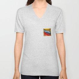 Grunge sticker of Venezuela flag Unisex V-Neck