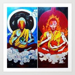 ELEMENTAL BUDDHAS Art Print