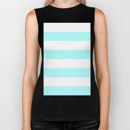 Wide Horizontal Stripes - White and Celeste Cyan Biker Tank