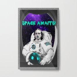 SPACE AWAITS JOAN CRAWFORD Metal Print