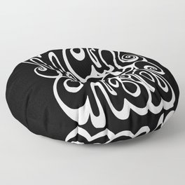 Manchester Lettering Typography - Black and White Floor Pillow