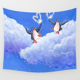 penguins spread love with sparklers Wall Tapestry