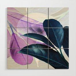 Blue Violet Leaves Wood Wall Art