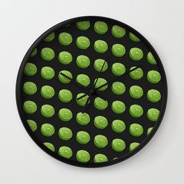 Green Limey Limes on Black Wall Clock