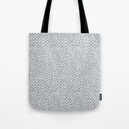 Hand Knit Light Grey Tote Bag